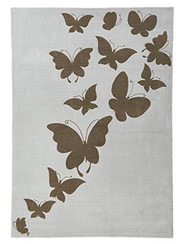 heine home Hochflorteppich Wohnzimmer Esszimmer Flur Diele mit Schmetterlingen unifarben, Größe Teppiche:ca. 190 x 290 cm