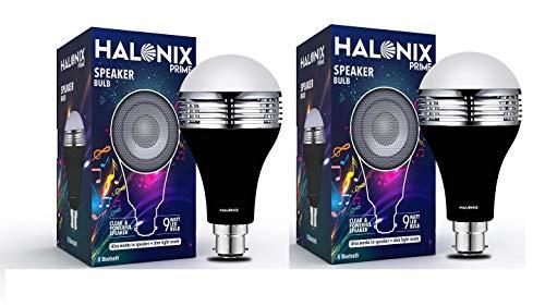 Halonix B22 9-Watt LED Bluetooth Speaker Bulb (White and Yellow Light) Pack of 2