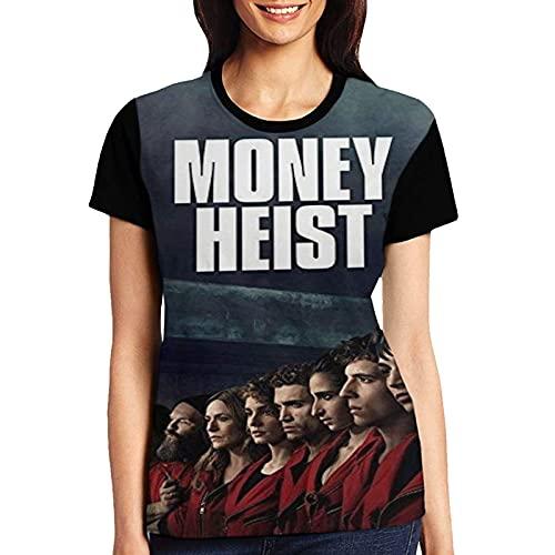 Qian Mu888 M-o-n-ey-H-ei-st - Camiseta de manga corta para mujer, cuello redondo, elasticidad