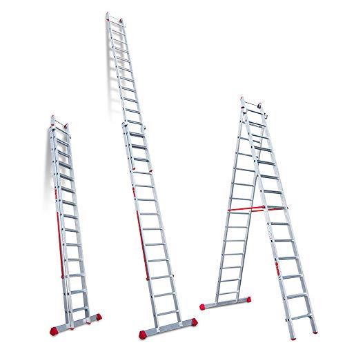 Faraone - Escalera Multiuso EN 1414 - Escalera 2 Tramos - Escalera 13+14 peldaños - 420x56x21cm - Peldaños Cómodos - Escalera de Aluminio - Ligera y Fácil de Manejar - Peldaños antideslizantes