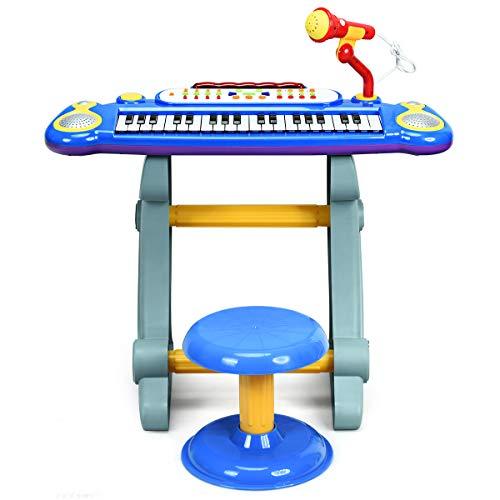 DREAMADE Set 3 in 1 con Tastiera Elettronica 37 Tasti, Microfono e Sgabello per Bambini, Pianoforte Giocattolo Portatile con Luce per Bimbi con più di 3 Anni, Multifunzionale con Cavo USB e MP3 (Blu)
