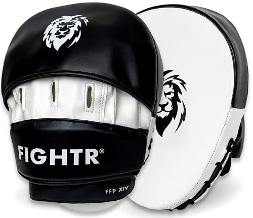 FIGHTR® Colpitori boxe Premium hand pads con imbottitura e stabilità ideali | Box pad per arti marziali incl. Borsa per il trasporto (bianco / nero)