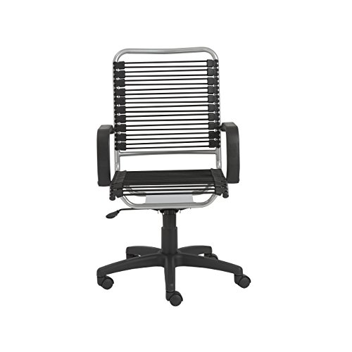 Eurø Style Bradley Bungie office chair, L: 27 W: 23 H: 37.5-43 SH: 17.5-23, Black/Aluminum