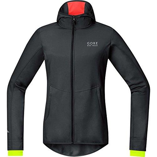 Gore Bike Wear Damen Warme Soft Shell Fahrrad-Kapuzenjacke, Gore Windstopper, Element Lady WS SO Hoody, Größe: 38, Schwarz/Neon Gelb, JWHELL