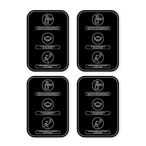 Pack 4 Vinilos Medidas y Normas de Seguridad - A4   Adhesivos de Medidas de Protección e Higiene para paredes   Mascarilla Obligatoria y Distancia Social (NEGRO)