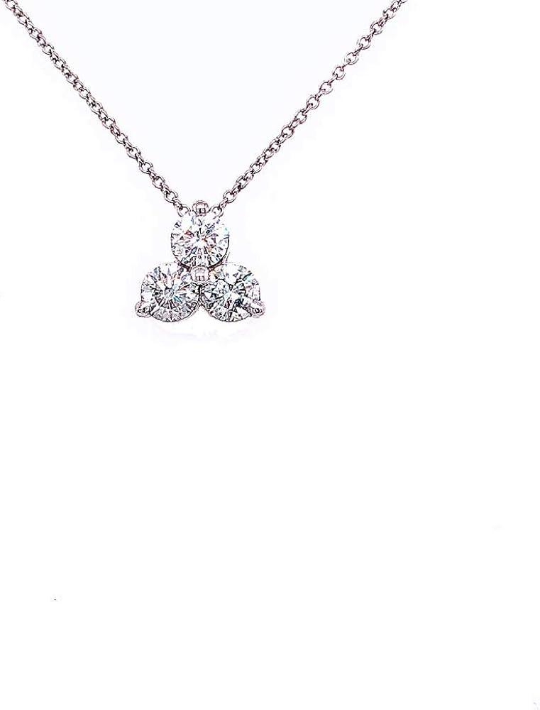 Cluster 3 Stone Round El Paso Mall Diamond 14K Necklace Dedication Triangle Whi Pendant