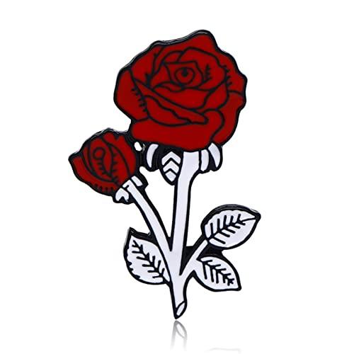 Canghai Esmalte Pins, Moda Flor Solapa Pin Mujer Insignia, Broche de Metal Pin Pareja Regalo Romántico Fechado Joyería de boda (Rojo)