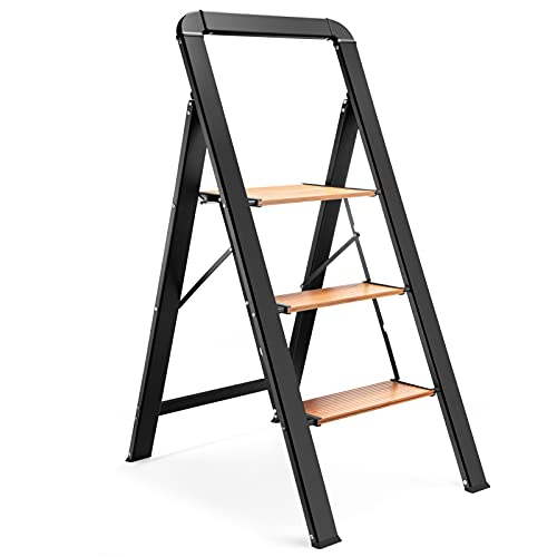 Delxo Aluminum 3 Step Ladder,2021 Upgrade Lightweight Folding Step Stool with Long Handle, Anti-Slip Sturdy Pedal, Classic Wood Look Without Wood Worry Step Ladder, Hold Up to 330LB