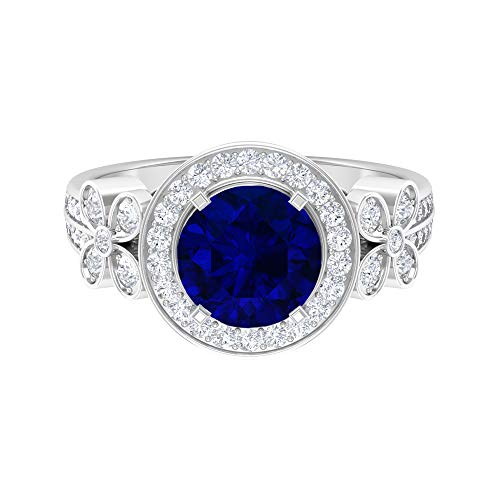 Floral Moissanite Ring, D-VSSI 2.6 CT Gemstone, 8 MM Blue Sapphire Ring, Art Deco Solitaire Ring, Sidestone Floral Ring, Wedding Anniversary Gift, 14K White Gold, Blue Sapphire, Size:UK U1/2