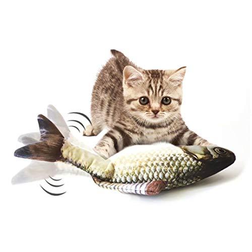 Fangqiyi Floppender Fisch Katzenspielzeug Fisch der schwingt interaktives Simulationsspielzeug für Haustiere von Hauskatzen perfekt zum Beißen Kauen Treten