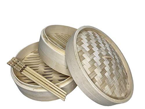 Cestello a Vapore Fatto di bambù con Due Livelli, in Omaggio Bacchetta Orientale Fatto di bambù, adattò per la Cottura a Vapore di Verdure e carni