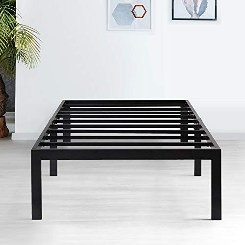 PrimaSleep 18 Inch Tall Metal Bed Frame/Dura Steel Slat/Anti-Slip Support/No Box Spring Needed Black/Twin,