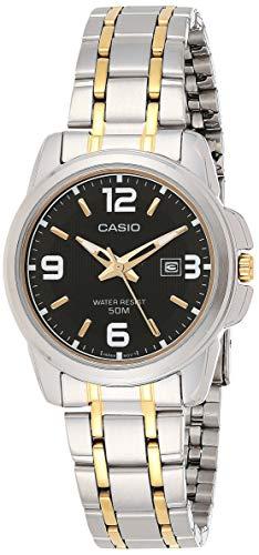 Casio Reloj de cuarzo para mujer LTP1314SG-1AV de acero inoxidable plateado con esfera negra