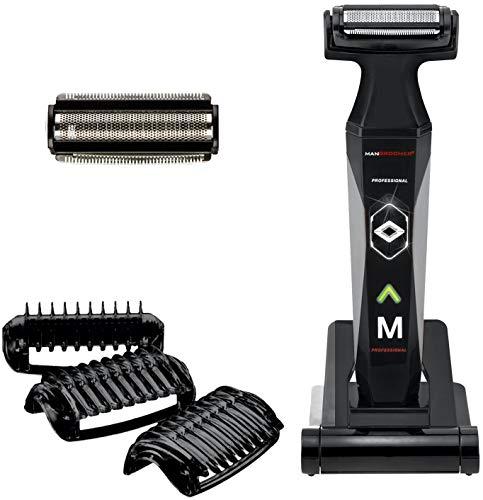MANGROOMER 2.0 Peluquería profesional para el cuerpo, peluquero de bolas y recortadora de cuerpo con cabezal flexible Propivot, 3 peines para recortar, mojado/seco y una lámina de bonificación gratis, color negro