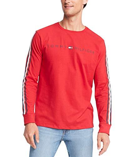 Tommy Hilfiger Men's Long Sleeve Cotton T Shirt, Rhododendron Heather, Medium