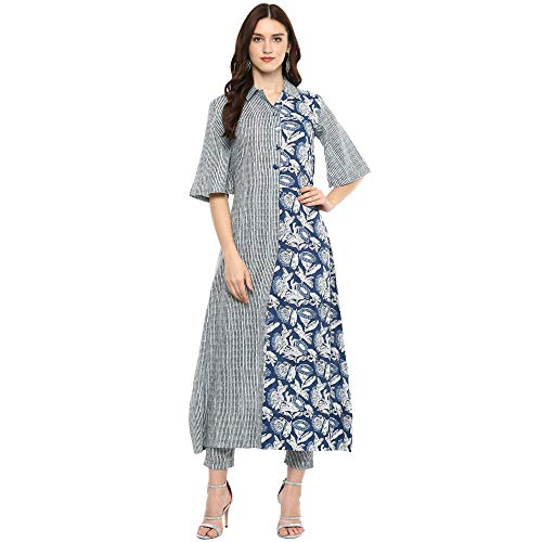 Blue Colored Cotton Striped Printed Long Kurta With Pant S