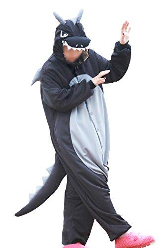 Lifeye Men Women Black Dragon Pajamas Animal Cosplay Costume With Horns Black Size XL