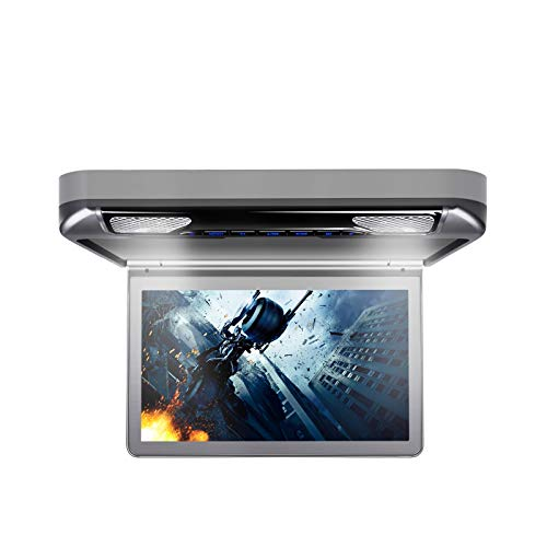 XTRONS 13.3 Inch 1080P Video Car MPV Roof Flip Down Overhead Multimedia Car Ceiling Overhead DVD Player Display Wide Screen Ultra-Thin with HDMI Input (CR133HDVSGrey)