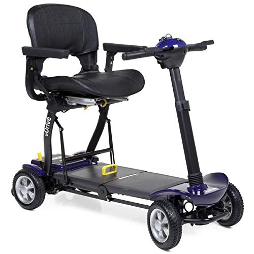 eDrive Electric ? Removable Lightweight Battery ? Automatic Folding ? Travel Mobility Scooter with Heavy Duty Travel Case