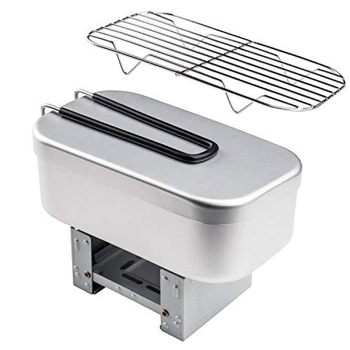 Bento Box 936ml, Achort Auslaufsichere Aluminiumlegierung Lunchbox mit Herd und Dampfgarer, Fach Brotdose Edelstahl mit Faltbarem Löffel für Kinder/Erwachsene