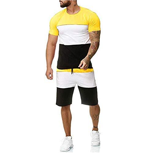 Hombre Traje Deportivo Verano Traje de Ocio Camiseta/Chaleco/Camisa Top + Pantalones Cortos Deportivos con cordón Ocio y cómodo 2 Piezas de Gimnasio Ropa de Entrenamiento Costura Rayas