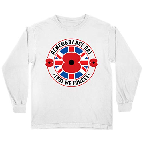 lepni.me Kids T Shirt Remembrance Day Poppy Lest We Forget Remembrance Sunday (9-11 Years White Multi Color)