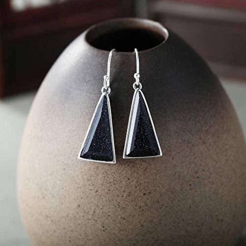 WOZUIMEI Chinese Style Earrings Eardrop Earrings Female Amethyst Earrings S925 Female Sterling Silver Long Temperament Matches All Blue Sandstone Ears Blue Sandstone