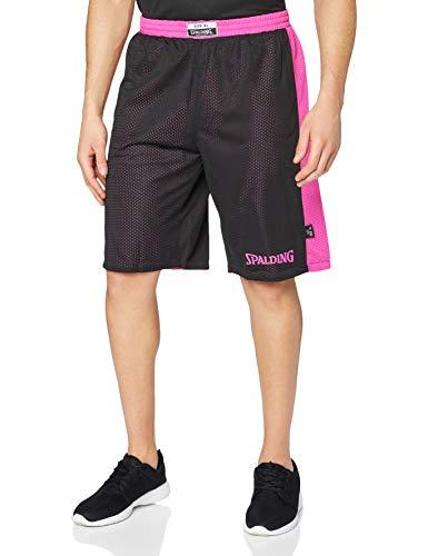Spalding Essential Reversible P Shorts de Basquetball con Cinturilla Elástica y Logo, Hombre, Rosa (Black/Pink), XL