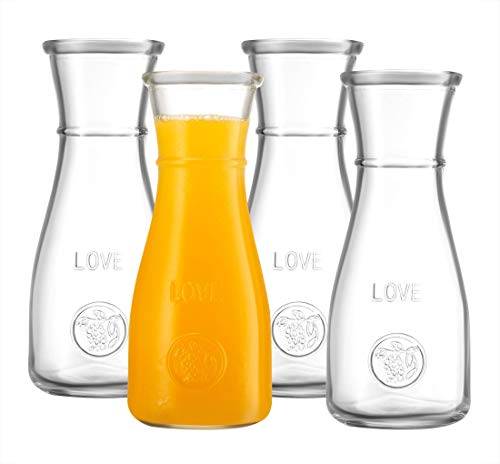 Glass Carafe LOVE Drink Pitcher - 4 Pack - Elegant Wine Decanter, Narrow Neck For Easy Grip, Wide Mouth for Classic Pouring - Great for Parties and Events, 500 ml, by Kitchen Lux