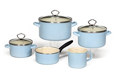 Krüger Batería de Cocina, Esmalte, Azul