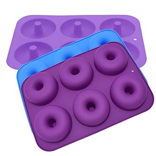 Moldes de donas, 3 piezas de moldes de silicona para hacer donas, molde antiadherente para hacer donas, para hornear rosquillas, para hornear rosquillas de tamaño completo (6 cavidades, 3 colores)