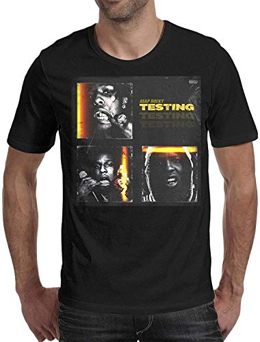 Men's My-Illustration-of-ASAP-Rocky-Short Sleeve Cotton T-Shirts,ASAP Rocky Testing-1,X-Large