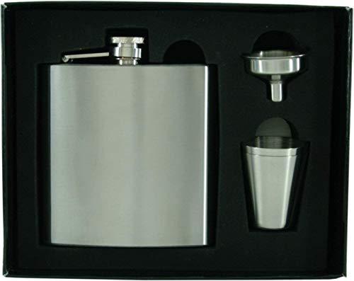 Dublin Flachmann Taschenflachmann Taschenflasche - Flachmann-Set inkl. 1 Einfülltrichter in edler schwarzer Geschenkbox