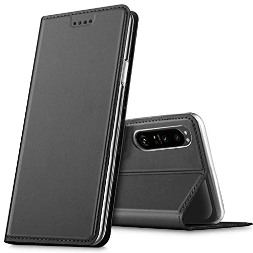 Verco Handyhülle für Sony Xperia 1 III, Premium Handy Flip Cover für Sony 1 III Hülle [integr. Magnet] Book Hülle PU Leder Tasche, Schwarz