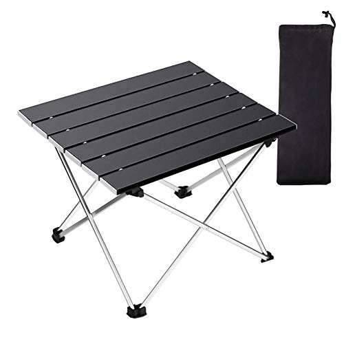 Portable Camping Table,Folding Side Table Aluminum Top for Outdoor Cooking, Hiking, Travel, Picnic(Black,Small)