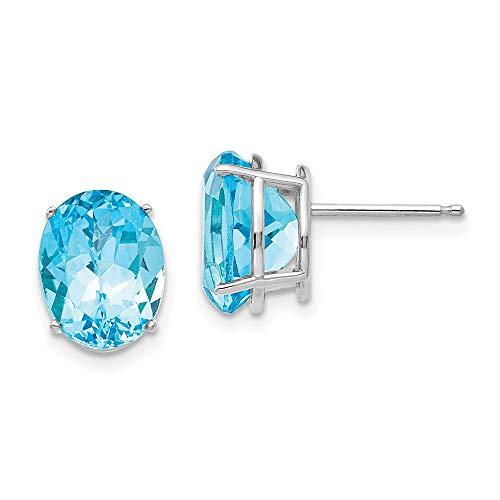 14k White Gold Oval Swiss Blue Topaz Stud Earrings