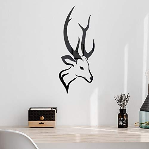 Etiqueta engomada de la pared del espejo 3D de la cabeza de ciervos creativa DIY de la personalidad de la moda de acrílico de la etiqueta para