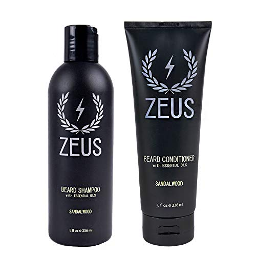 ZEUS Beard Shampoo and Beard Conditioner Set for...