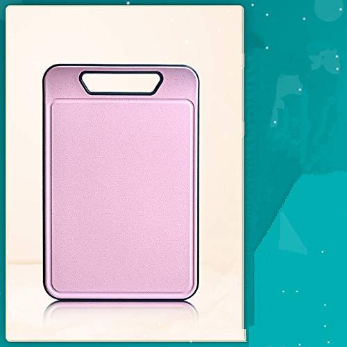 Tabla de Cortar Extra Grande Cocina Paja de Trigo Tabla de Cortar de TPR Ranura de Jugo Tabla de Cortar Antideslizante Sin BPA Apta para lavavajillas - Rosa
