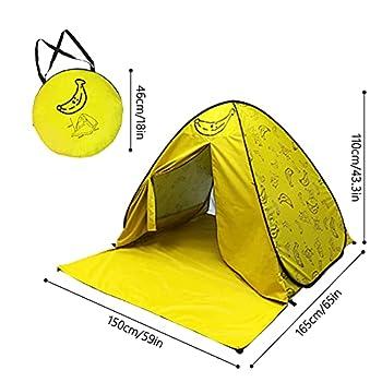 YeenGreen Tente de Plage Pop-up, Tente avec Fermeture à Glissière de Porte, Abri Plage Anti UV 50+, Tente Plage pour 2-3 Personnes, Tente escamotable Portable pour Camping Pique-Nique165x150x110 cm