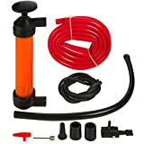 Katzco Liquid Transfer, Siphon Hand Pump - 2 Hoses, 50 x .5 Inches - for Gas, Oil, Air, Chemical Insecticides, and Other Fluids