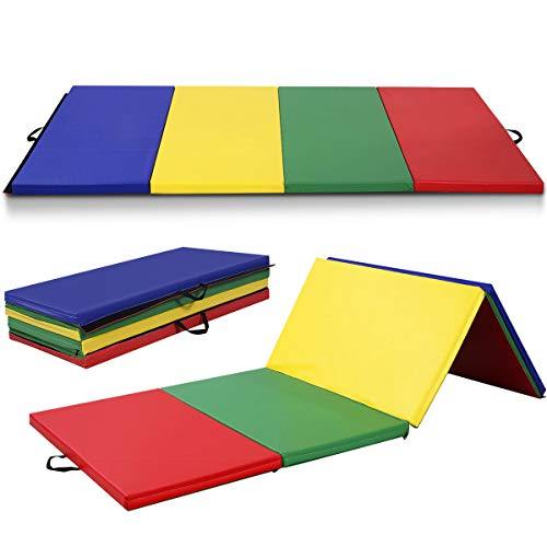 Giantex 4'x10'x2 Gymnastics Mat Folding Panel Thick Gym Fitness Exercise (Multicolor), 4'x10'x2