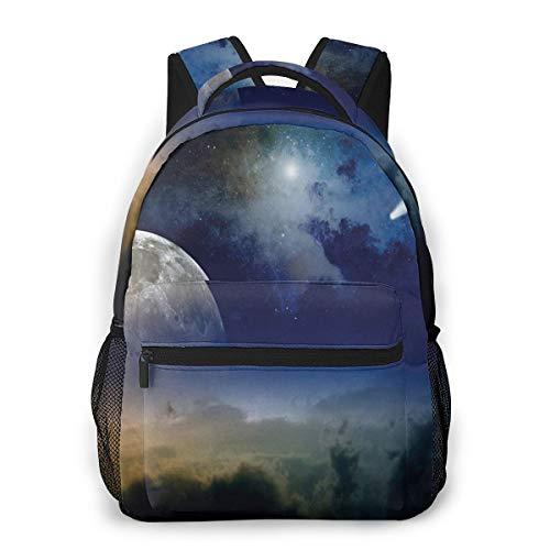 Rucksack Männer und Damen, Laptop Rucksäcke für 14 Zoll Notebook, Mond aufgehender Sternschnuppe bewölkt Kinderrucksack Schulrucksack Daypack für Herren Frauen