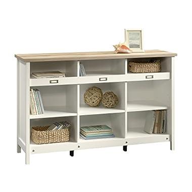 Sauder 417653 Bookcase, Storage Cabinet Adept Soft White Credenza, Craftsman Oak