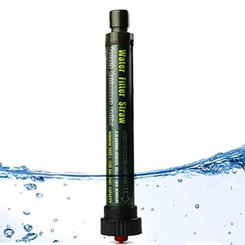 SurvivaIStraw Wasserfilter-Strohhalm für Rucksackreisen und Camping, fortschrittliche Wasserreinigung mit 2000L 4-Stufen-Filtration, Wasserreiniger für Wandern, Jagd, Reisen und Notfall (Armeegrün)
