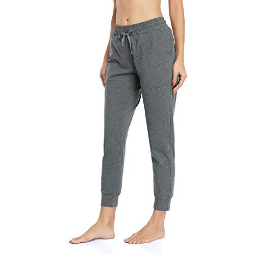 Gimdumasa Jogginghose Damen Slim Fit Baumwolle Sporthose Freizeithose mit Streifen Traininghose Sweathosen mit Seitentaschen für Jogging Laufen Fitness GI06 (Dunkelgrau, X-Large)