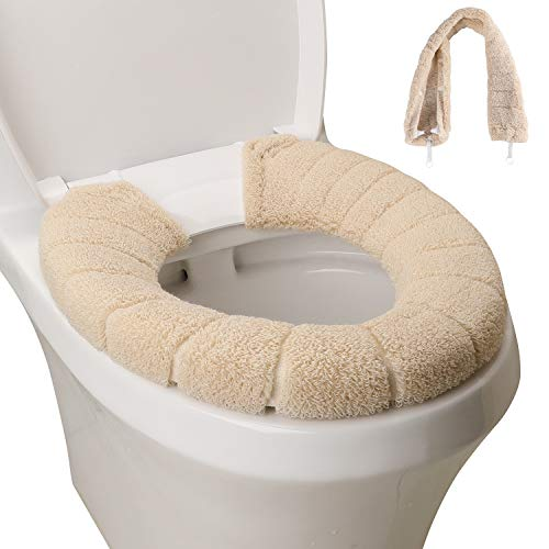 SENOMOR Toilet Seat Cover,Bathroom Soft Thicker Warmer with Snaps Fixed Stretchable Washable Fiber Cloth Toilet Seat Covers Pads Easy Installation& Cleaning (Beige)