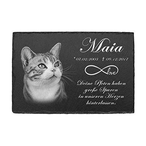 Tiergrabstein Grabplatte aus Schiefer Gedenkstein mit Foto Gravur Gedenktafel für Hund Katze und andere Haustiere Grabstein Grabschmuck personalisiert mit Ihrer Wunschgravur Unendlichkeitssymbol