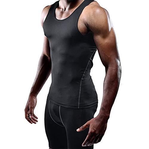 Men's Athletic Compression Shirt Abdomen Slimming Body Shaper Tank top Undershirt Running Training Vest Black1 1 pcak 2XL