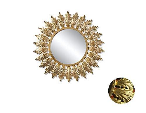 Espejos Pared Decorativos - Espejo de Pared para baño,Pasillo,Sala,Cocina,Estancia -Diseño French estilo Vintage - Metal, Color Dorado, Forma Redonda 80 cm Diámetro